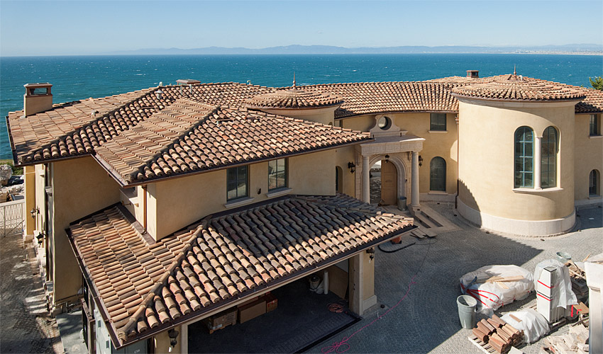 Two-piece mission tile roof, new construction, Palos Verdes Estates, South Bay Los Angeles
