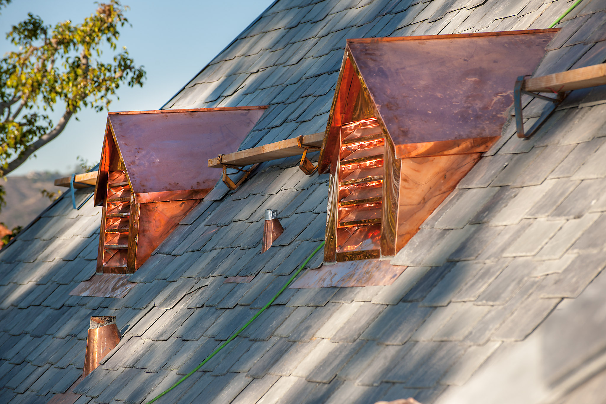 Slate roof with custom copper dormers, Hancock Park, Los Angeles, California