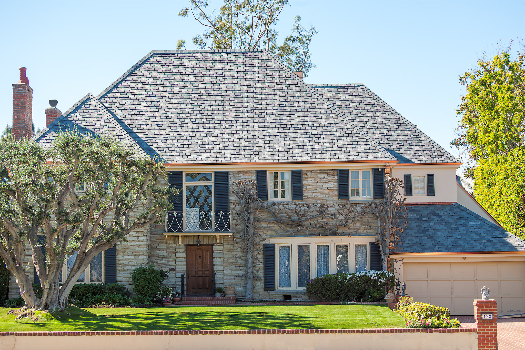 Slate roof with custom copper dormers, Hancock Park, Los Angeles