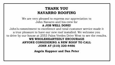Navarro Roofing Client Testimonials Rancho Palos